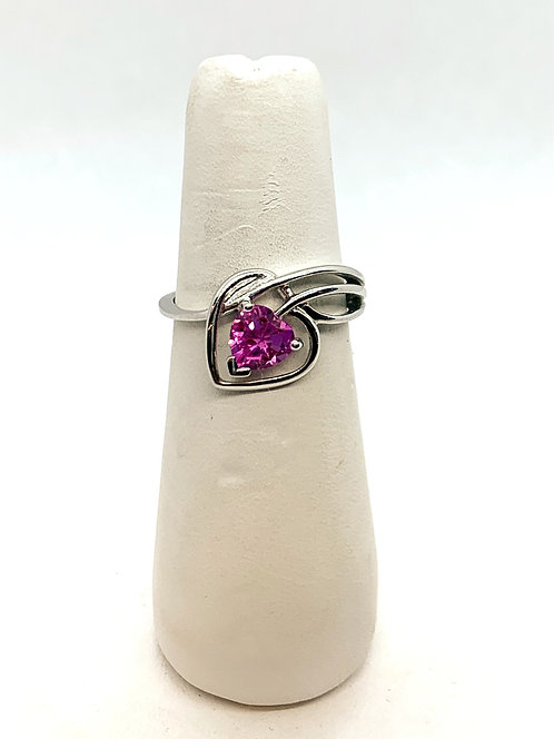 "White Gold ""Heart"" Pink Quartz Ring"