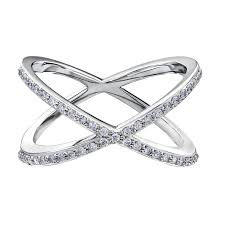 "White Gold Diamond ""X"" Statement Ring"