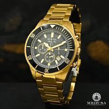 Bulova Mens Marine Star Gold Plated Chronograph Watch