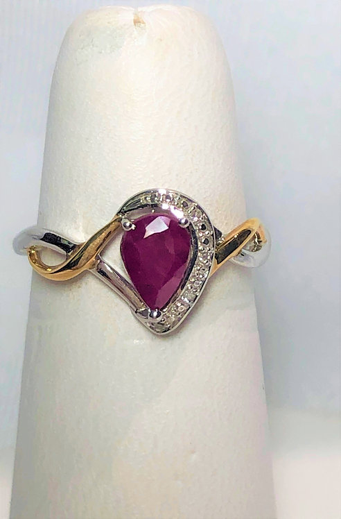 White & Yellow Gold Ruby & Diamond Ring DR3100