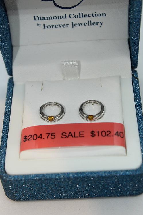 Diamond and Citrine Earrings