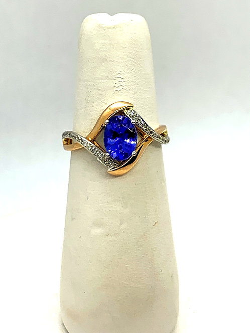 White & Rose Gold Diamond Tanzanite Ring