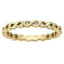 Yellow Gold Diamond Infinity Knot Ring