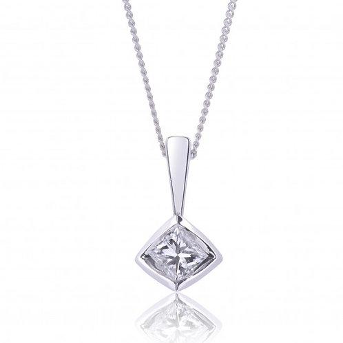 White Gold Tension set .50CT Diamond Solitaire Pendant