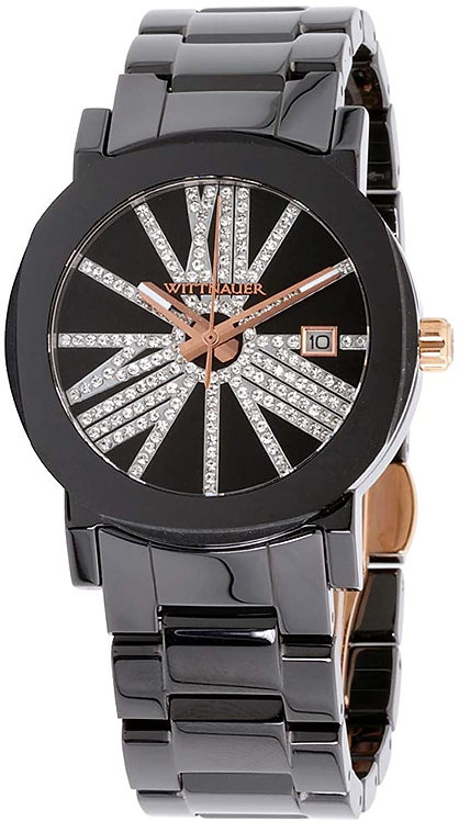 Wittnauer  Ceramic Black Pave Crystals Ladies Watch Dial