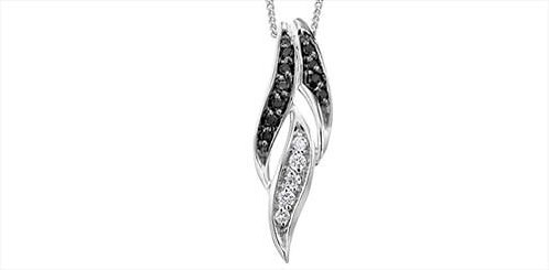 White Gold Black & White Diamond Pendant