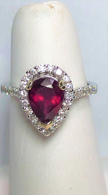 "White Gold ""Pear"" Ruby & Diamond Halo Ring"