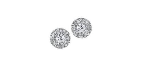Maple Leaf Diamond Stud Earrings with 2 row halo