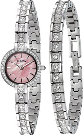 Bulova Women's Swarovski Crystal Watch and Bracelet Box Set