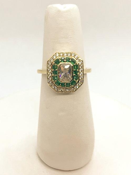 Yellow Gold Emerald & Cubic Zirconia Dinner Ring