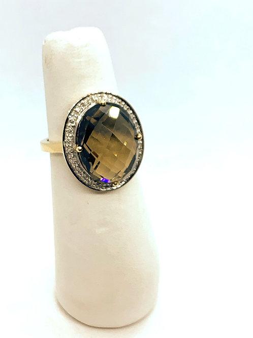 Yellow Gold Smoky Quartz & Diamond Halo Ring