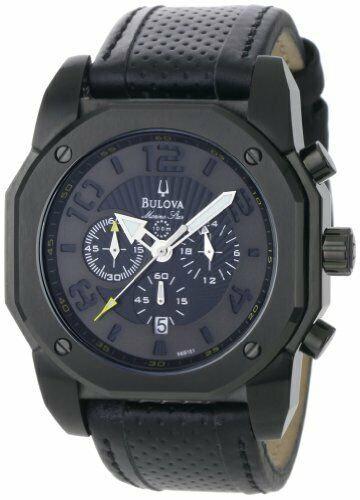 Bulova Marine Star Black Dial SS Leather Chronograph Mens Watch