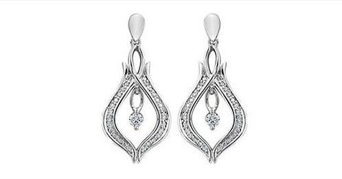 White Gold Maple Leaf Diamond Drop Earrings