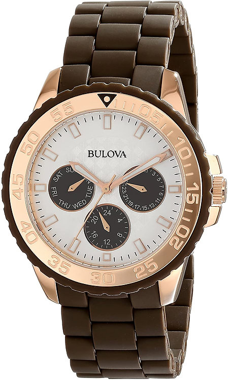 Bulova Women's Brown Rubber Wrapped Stainless Steel Watch Band