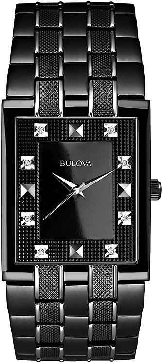 Bulova Mens Strap Black Dial Watch