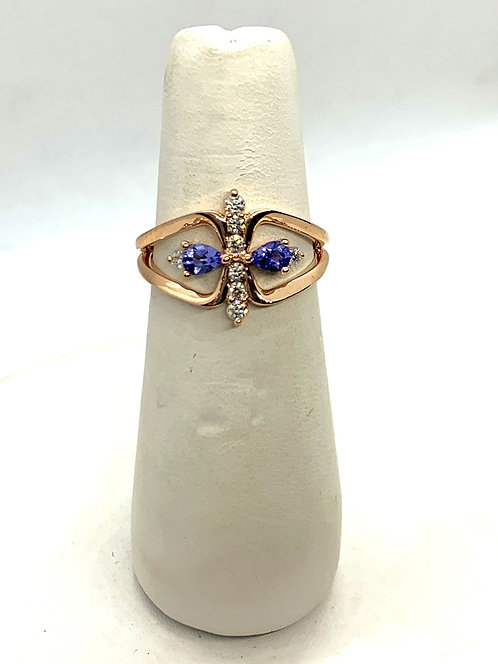 Rose Gold Diamond & Tanzanite Dinner Ring