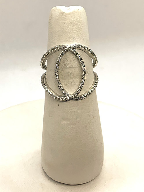 White Gold Diamond Oval Statement Ring
