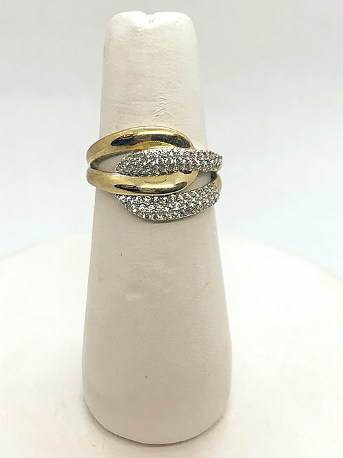 Yellow Gold Cubic Zirconia Fashion Ring