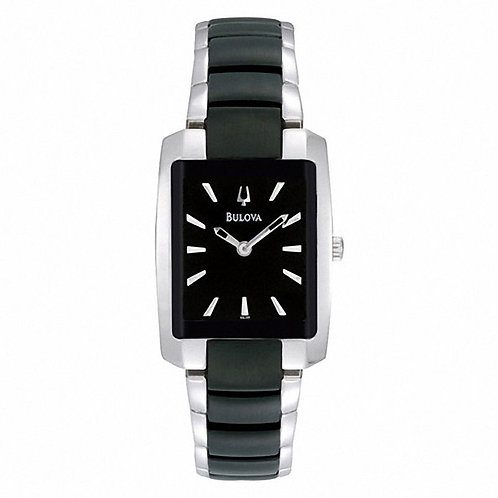 Bulova Two-Tone Watch with Rectangular Black Dial