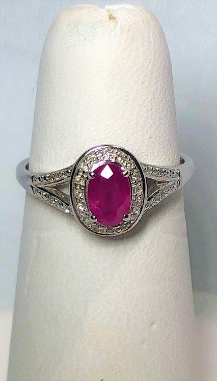 White Gold Ruby & Diamond Halo Ring