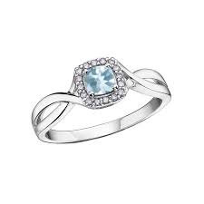 White Gold Aquamarine & Diamond Halo Ring