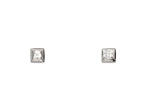 WG Square Mount .15CT Diamond Stud Earrings
