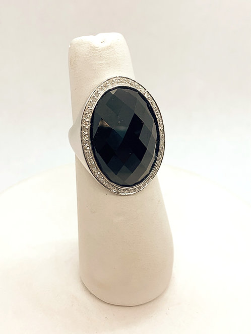 White Gold Black Onyx & Diamond Halo Ring