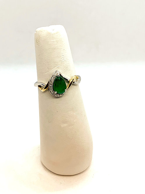 White & Yellow Gold Emerald & Diamond Ring