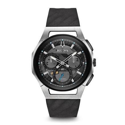 Bulova Men's Chronograph CURV Black Rubber Strap Watch