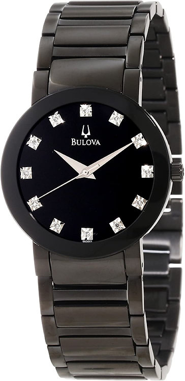 Bulova Mens Diamond Accented Stainless Steel Watch Band