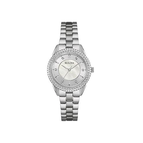 Bulova Women's Quartz Crystal Accent Silver-Tone Band Watch