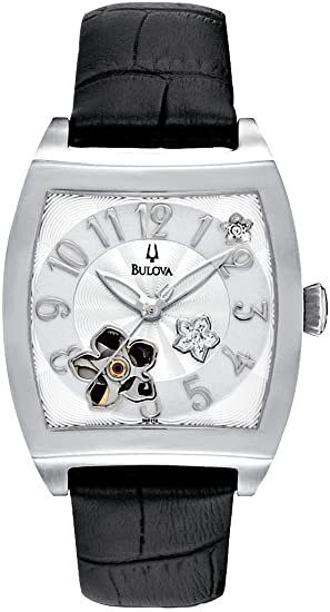 Bulova Women's BVA Series Floral Aperture Dial Watch Silver