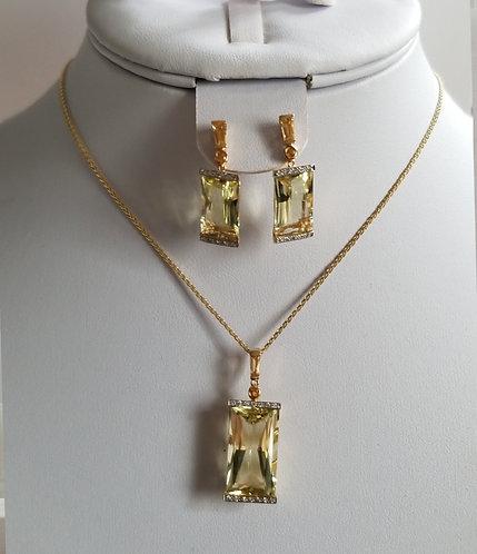 Diamond and Lemon Quarts Earrings