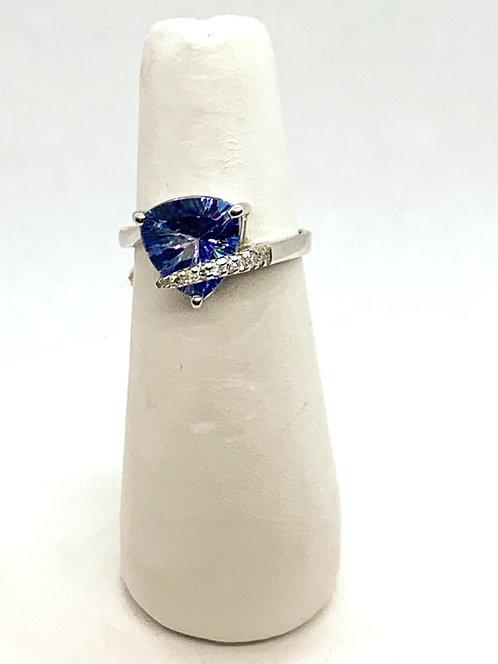 White Gold Seamist Topaz & Diamond Ring