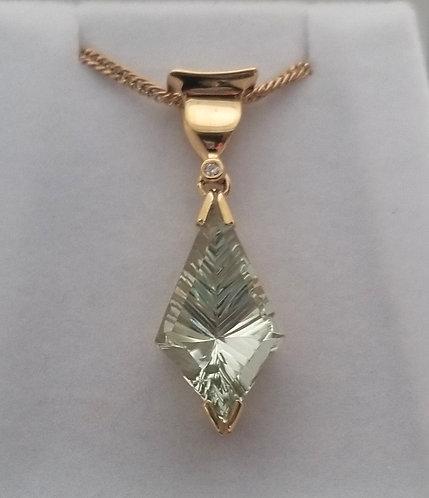 Diamond and Green Garnet Pendant