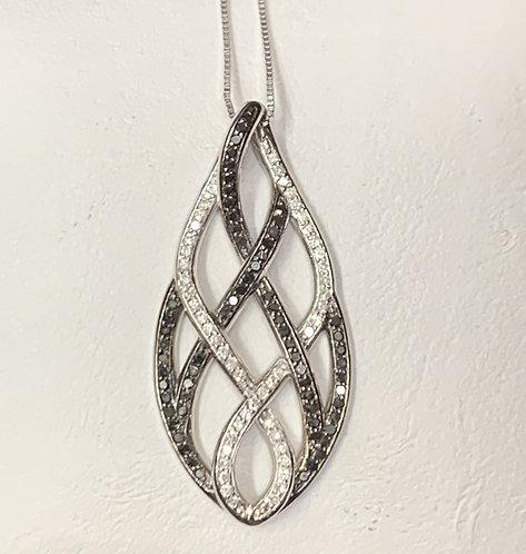 White Gold Fancy Twist Black & White Diamond Pendant
