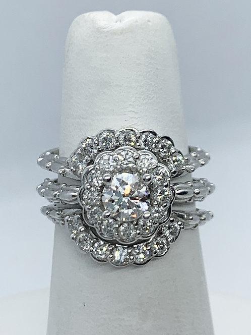 WG RBC Diamond with Bamboo design Wedding SET (Engagement Ring) ES1071