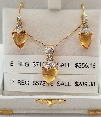 Diamond and Citrine Pendant