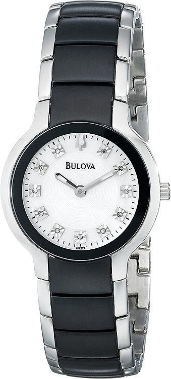 Bulova Black Diamond and Silver Plated Watch