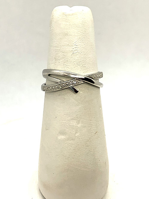 White Gold Crossover with Diamonds Ring