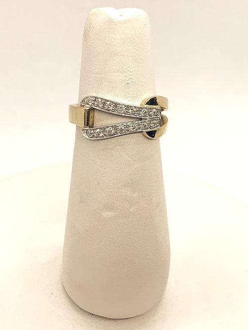 Yellow & White Gold Diamond Buckle Ring