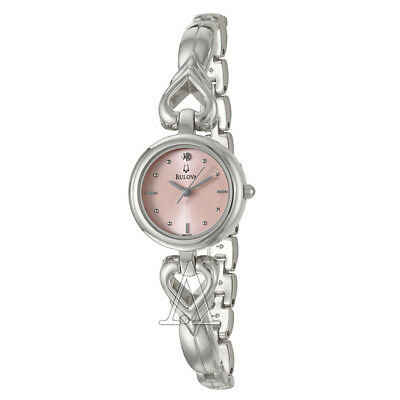 Bulova Silver Stainless Steel Quartz Watch with Rose Dial