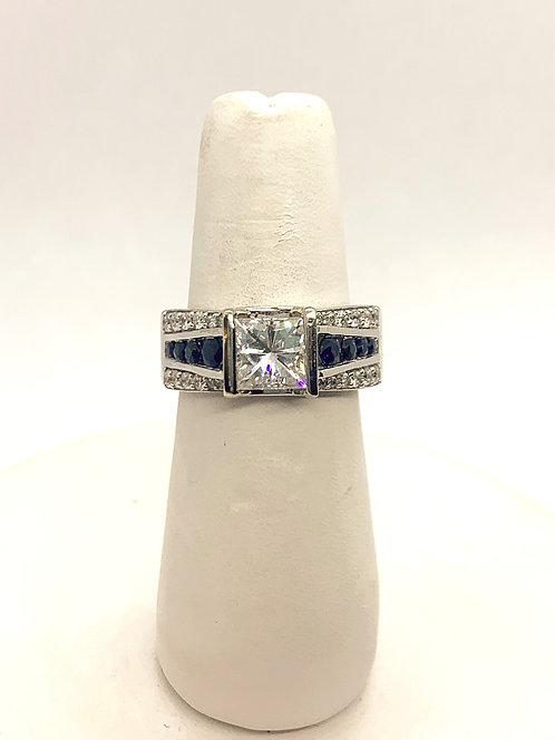 White Gold Sapphire & Diamond Dinner Ring