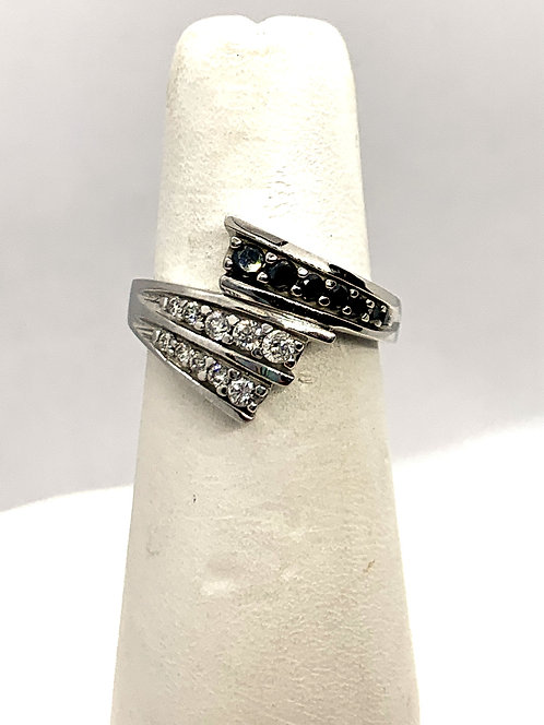 White Gold Black and White Diamonds Dinner Ring