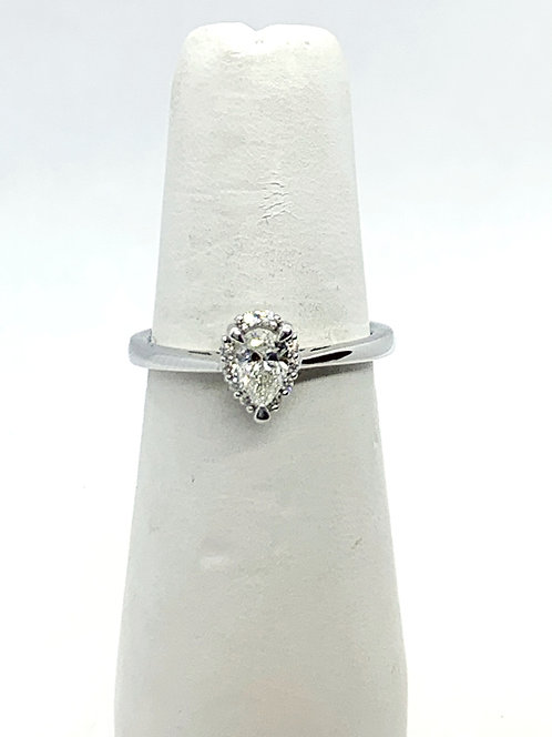 WG Pear shaped Diamond with Halo Ring