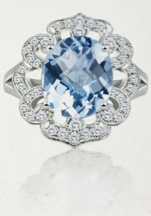 White Gold Blue Topaz & Diamond Dinner Ring