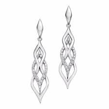 White Gold and Diamond Stud Dangle Earrings