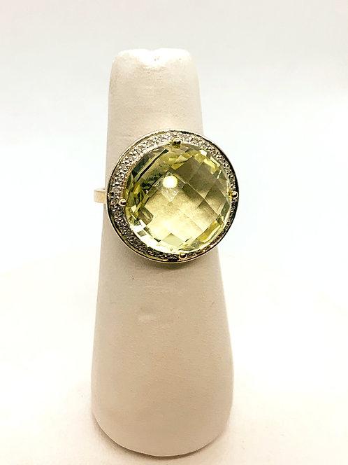 Yellow Gold Green Amethyst & Diamond Halo Dinner Ring