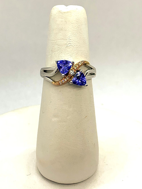 White & Rose Gold Diamond Tanzanite Dinner Ring