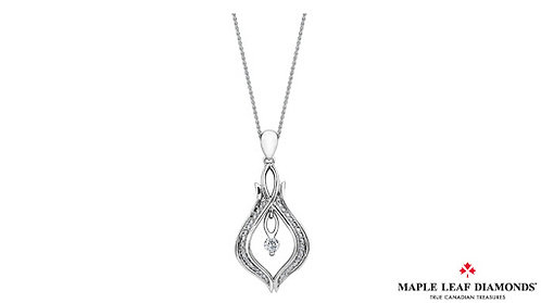 White Gold Maple Leaf Diamond Pendant